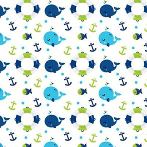 Whales and Anchors Green