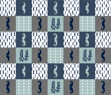 little man wholecloth - mustaches in navy and dusty blue (90) fabric by littlearrowdesign on Spoonflower - custom fabric