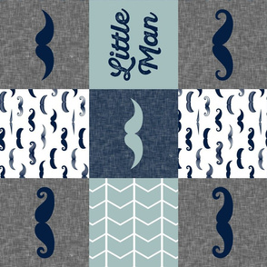 little man wholecloth - mustaches in navy and dusty blue (90)