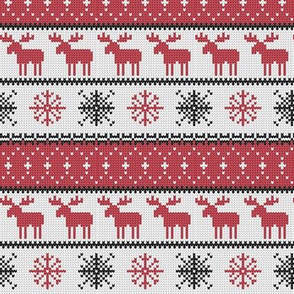 (small scale) fair isle moose (red) || winter knits