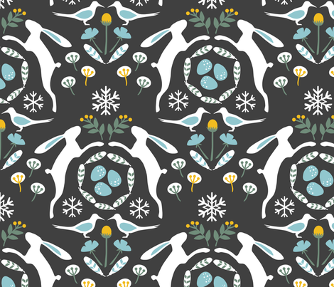 Arctic Hare and Tern fabric by sarahparr on Spoonflower - custom fabric