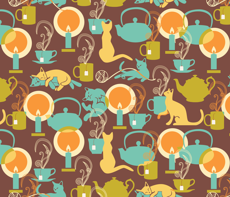 cozy cat hygge fabric by camcreative on Spoonflower - custom fabric