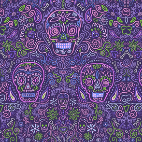 Sugar Skulls Large Purple