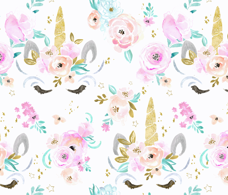 unicorn floral fabric by crystal_walen on Spoonflower - custom fabric
