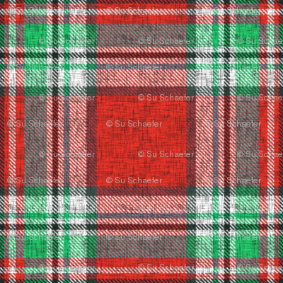 Distressed red + green (MATCHING) Stewart plaid by Su_G