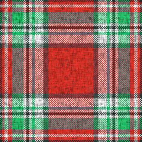 Distressed red + green (MATCHING) Stewart plaid by Su_G fabric by su_g on Spoonflower - custom fabric