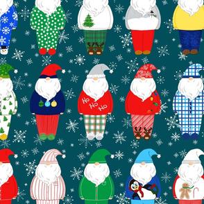 Santas in PJs teal background