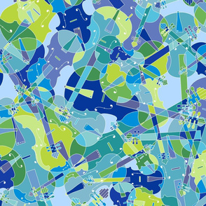 scattered violins, violas, cellos in blue and green (version 1)