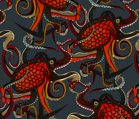 octopus ink gunmetal large fabric by scrummy on Spoonflower - custom fabric