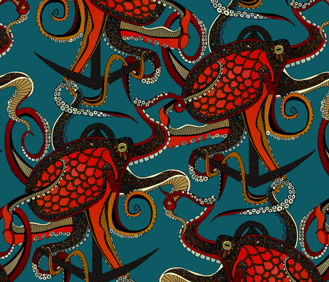 octopus ink teal large fabric by scrummy on Spoonflower - custom fabric