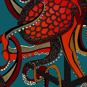 octopus ink teal large