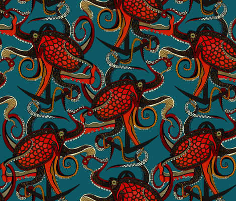 octopus ink teal fabric by scrummy on Spoonflower - custom fabric