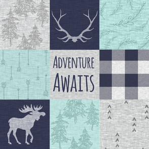 Adventure Awaits Patchwork- Mint, Navy and grey - moose, plaid, arrows, linen