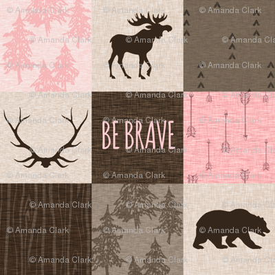 Be Brave Patchwork- Pink and Brown