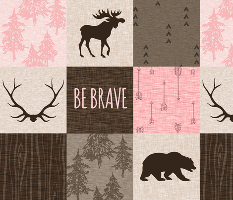 Be Brave Patchwork- Pink and Brown fabric by sugarpinedesign on Spoonflower - custom fabric