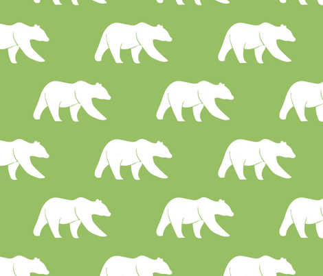bears - custom green fabric by littlearrowdesign on Spoonflower - custom fabric