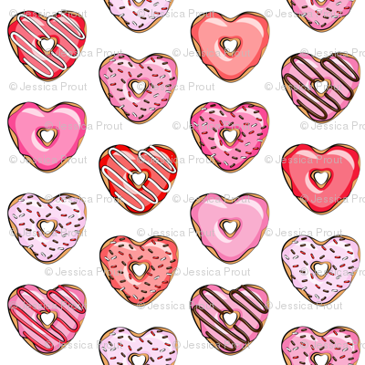 (micro print) heart shaped donuts - valentines red and pink