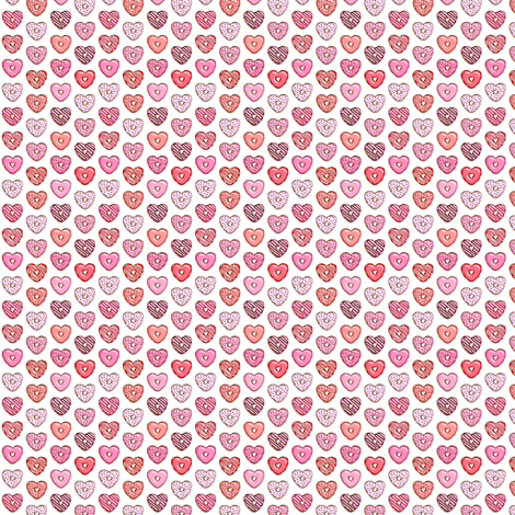 (micro print) heart shaped donuts - valentines red and pink  fabric by littlearrowdesign on Spoonflower - custom fabric