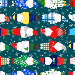Teal Tea Towel Santas in PJs