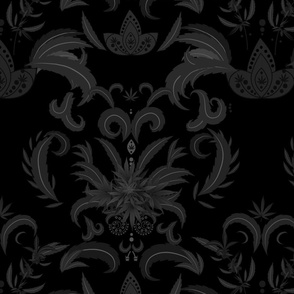 Black Cannabis Damask