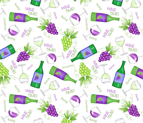 Wine Time White fabric by phyllisdobbs on Spoonflower - custom fabric