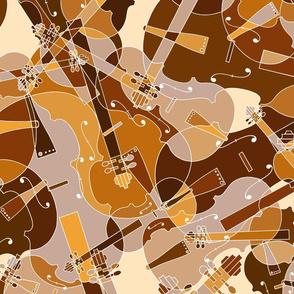 scattered violins, violas, cellos in brown