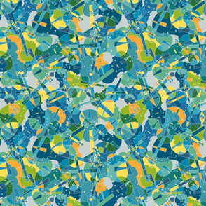 violins, violas, cellos in blue, green, orange and yellow on grey version 1