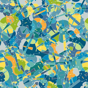 violins, violas, cellos in blue, green, orange and yellow on grey version 2