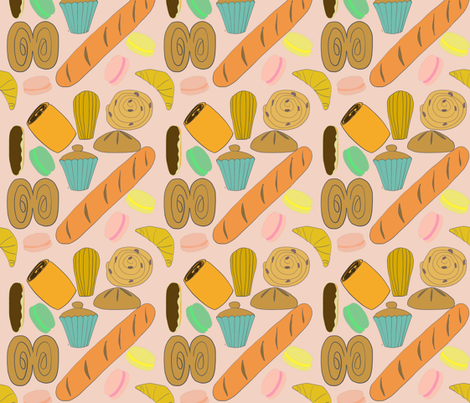 French Patisseries on Rose fabric by paper_and_frill on Spoonflower - custom fabric