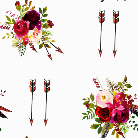 Burgundy Floral Boquet and Boho Arrows fabric by jmoon_design_studio_ on Spoonflower - custom fabric