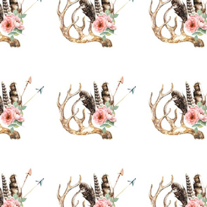 Floral Antler Boho Design