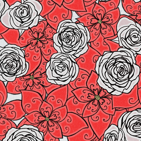 Red Poinsettias and White Roses, Woodgrain fabric by palifino on Spoonflower - custom fabric
