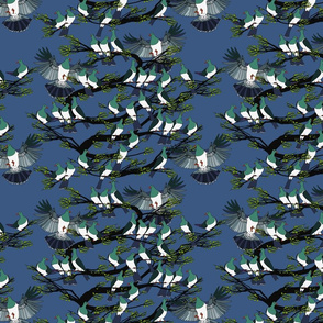 Kereru tile rich blue sky black branches