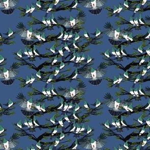 Kereru tile rich blue sky black branches