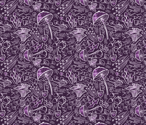 Gnomes and Mushrooms in Purple fabric by 2catdesign on Spoonflower - custom fabric
