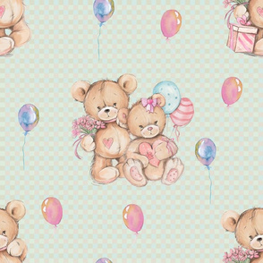 LARGE WATERCOLOR STUFFED TEDDY BEARS GIFT AND BALLOONS ON LIGHT GREEN GINGHAM