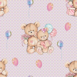 LARGE WATERCOLOR STUFFED TEDDY BEARS GIFT AND BALLOONS ON PINK GINGHAM
