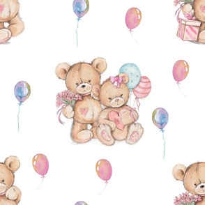 LARGE WATERCOLOR STUFFED TEDDY BEARS GIFT AND BALLOONS ON WHITE