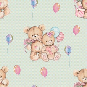 SMALL WATERCOLOR STUFFED TEDDY BEARS GIFT AND BALLOONS ON LIGHT GREEN GINGHAM