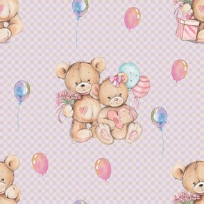 SMALL WATERCOLOR STUFFED TEDDY BEARS GIFT AND BALLOONS ON PINK GINGHAM