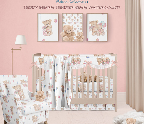SMALL WATERCOLOR STUFFED TEDDY BEARS GIFT AND BALLOONS ON WHITE