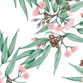 Eucalyptus Pink Blush, Dark Green, LARGE