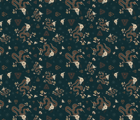 Snake charmer Floral on dark linen fabric by mabouk on Spoonflower - custom fabric