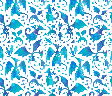 Fire dragons in blue watercolors fabric by heleen_vd_thillart on Spoonflower - custom fabric