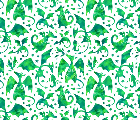 Fire dragons in green watercolors fabric by heleen_vd_thillart on Spoonflower - custom fabric
