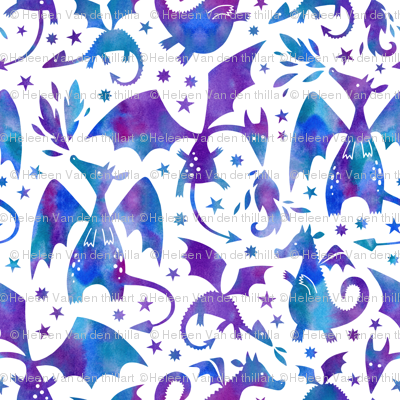 Fire dragons in purple and blue watercolors