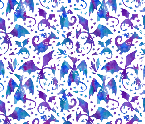 Fire dragons in purple and blue watercolors fabric by heleen_vd_thillart on Spoonflower - custom fabric