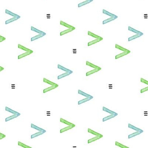 Watercolor arrows and aztec abstract pattern green blue