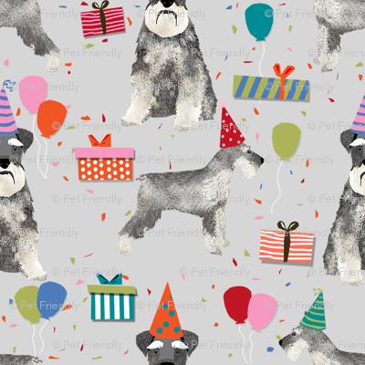 schnauzer birthday party dog breed fabric grey