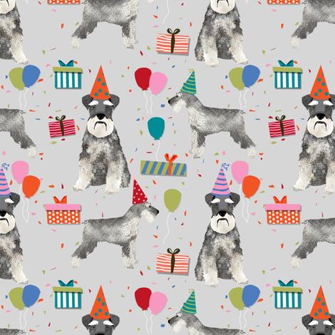 schnauzer birthday party dog breed fabric grey fabric by petfriendly on Spoonflower - custom fabric